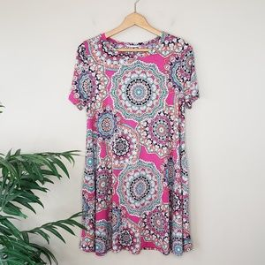 JODIFL | Medallion Print Swing Tunic with Pockets